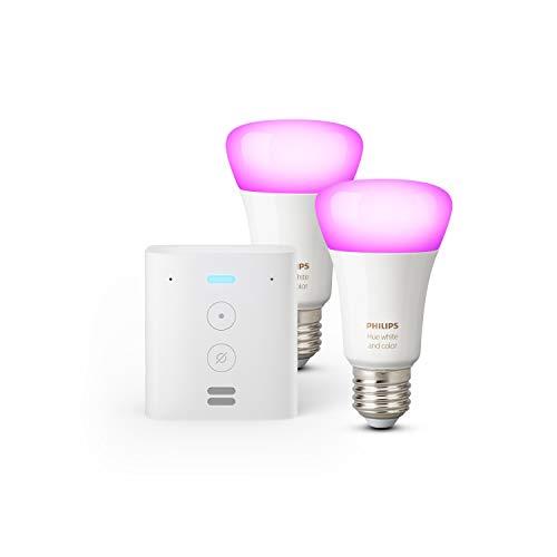Echo Flex + Philips Hue Color LED-Lampe Doppelpack (E27), kompatibel mit...