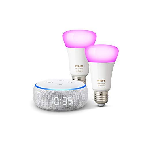 Echo Dot (3.Gen.) – smarter Lautsprecher mit Uhr und Alexa + Philips...