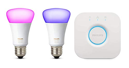 Philips Hue White und Color Ambiance E27 LED Lampe Starter Set, zwei Lampen...