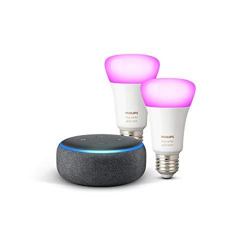 Echo Dot (3. Gen.), Anthrazit Stoff + Philips Hue Color LED-Lampe...