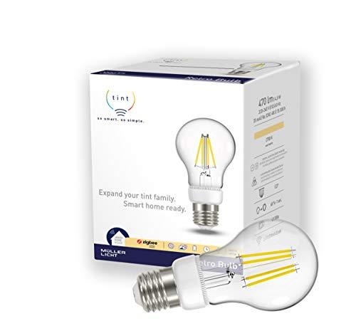 tint von Müller-Licht Smarte Retro LED Lampe E27, Birnenform, 2700K,...