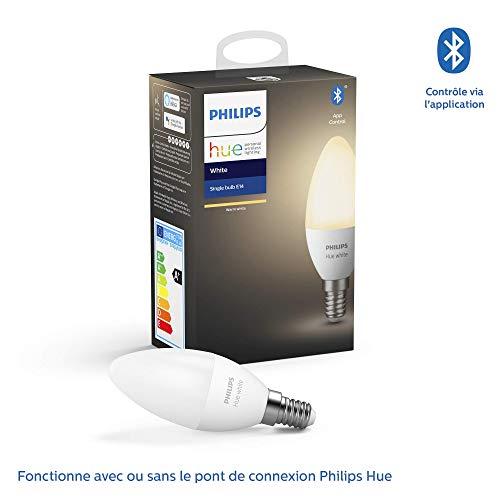 Philips Lighting Hue White Smart LED-Lampe, E14-Fassung, dimmbar, 40 W,...
