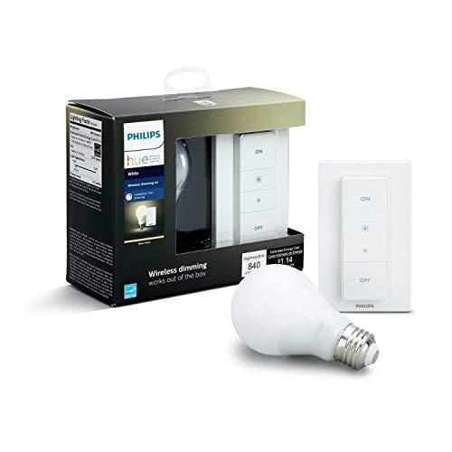 Philips Hue White Wireless Dimming Kit, E27 LED Lampe inkl. Dimmschalter,...