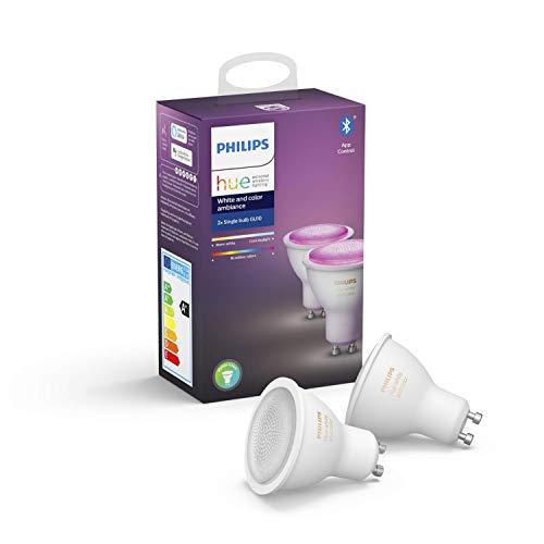 Philips Hue White & Col. Amb. GU10 LED Lampe Doppelpack, dimmbar, bis zu 16...