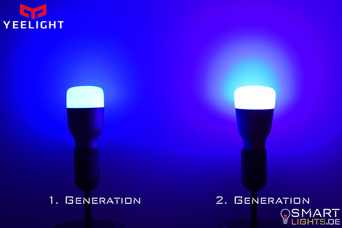 Farbunterschied Dunkelblau Xiaomi Yeelight 1. Generation YLDP02YL und 2. Generation YLDP06YL