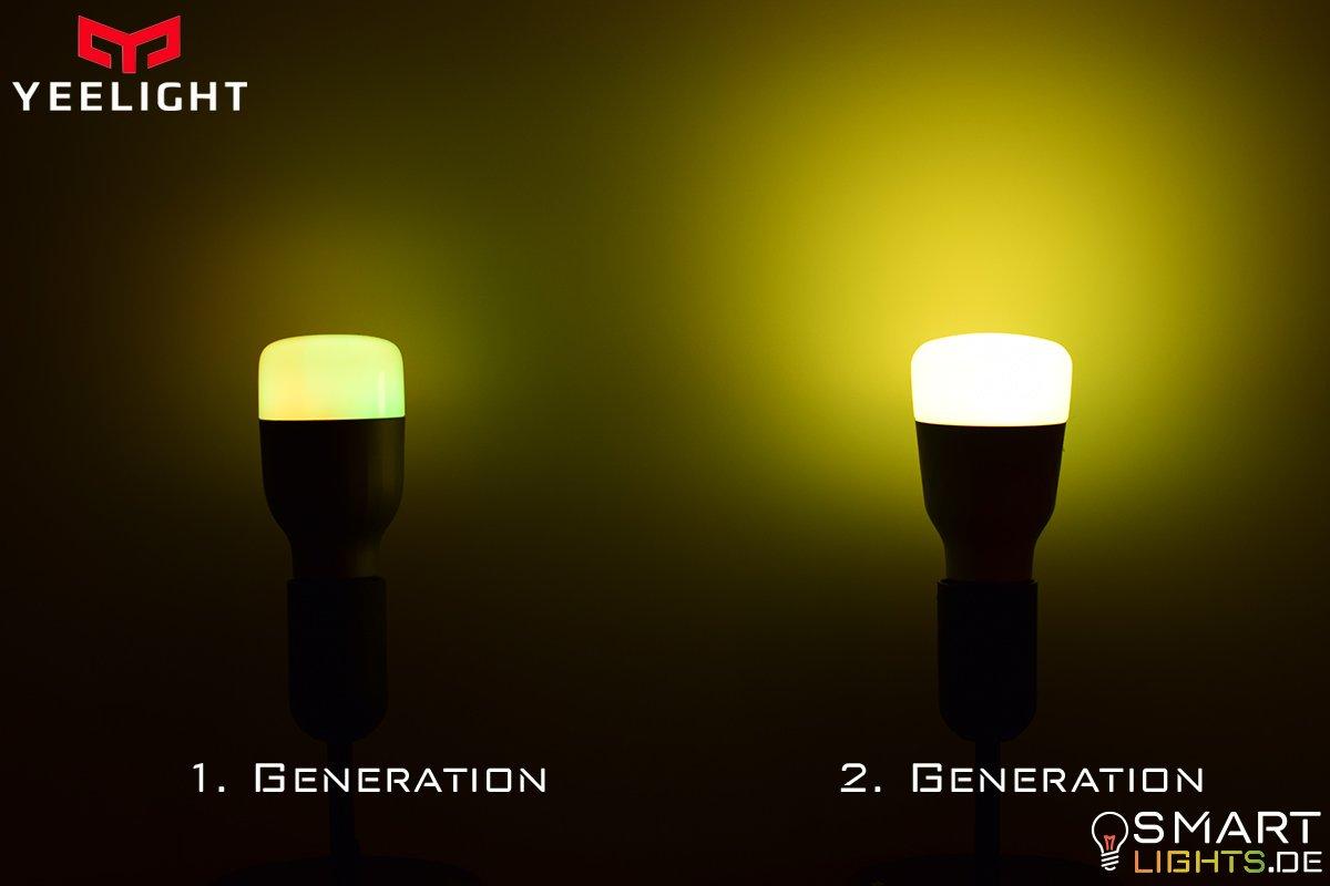 Farbunterschied Gelb gedimmt Xiaomi Yeelight 1. Generation YLDP02YL und 2. Generation YLDP06YL