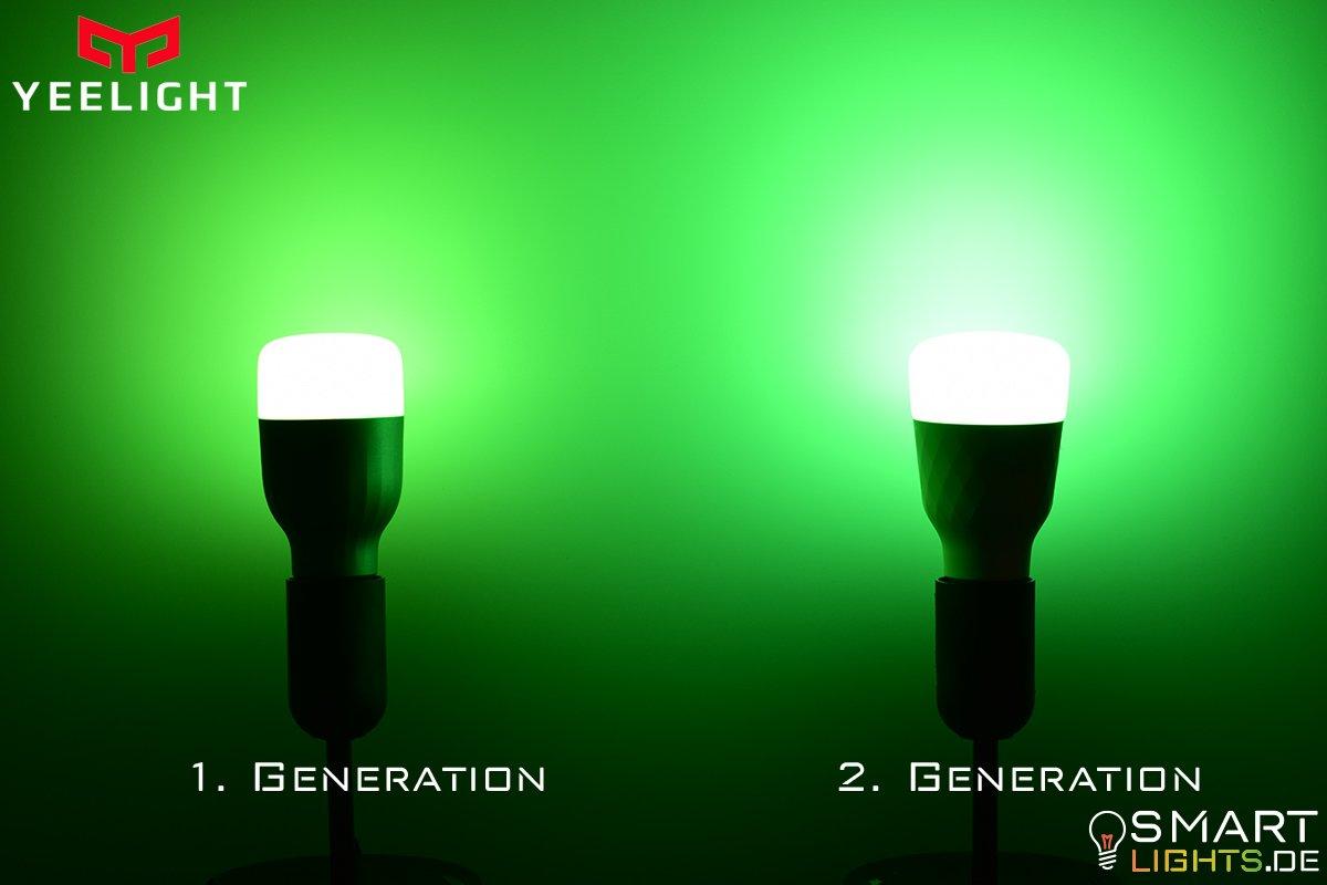 Farbunterschied Grün Xiaomi Yeelight 1. Generation YLDP02YL und 2. Generation YLDP06YL