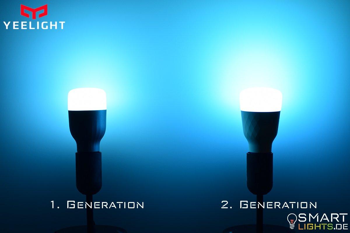 Farbunterschied Hellblau Xiaomi Yeelight 1. Generation YLDP02YL und 2. Generation YLDP06YL
