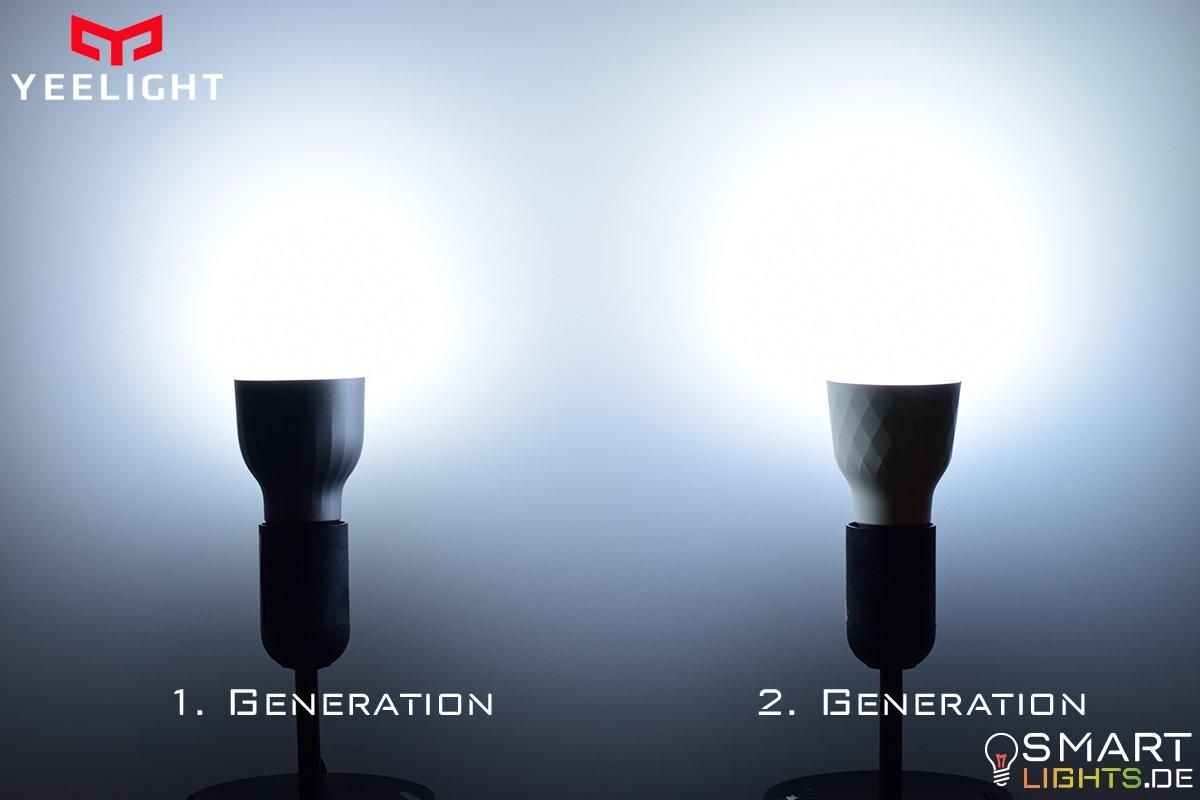 Farbunterschied Kaltweiß Xiaomi Yeelight 1. Generation YLDP02YL und 2. Generation YLDP06YL