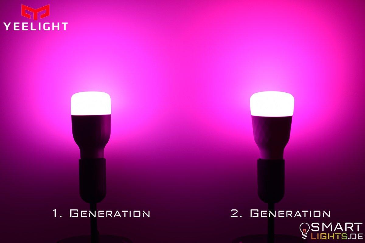 Farbunterschied Pink Xiaomi Yeelight 1. Generation YLDP02YL und 2. Generation YLDP06YL