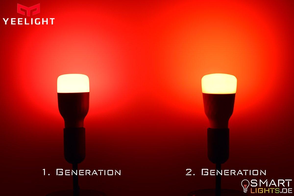 Farbunterschied Rot Xiaomi Yeelight 1. Generation YLDP02YL und 2. Generation YLDP06YL