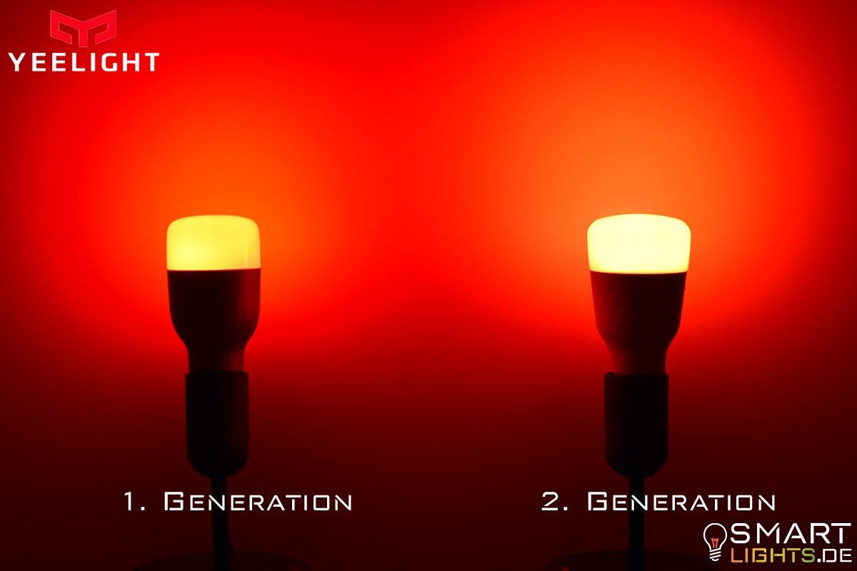 Farbunterschied Rot gedimmt Xiaomi Yeelight 1. Generation YLDP02YL und 2. Generation YLDP06YL