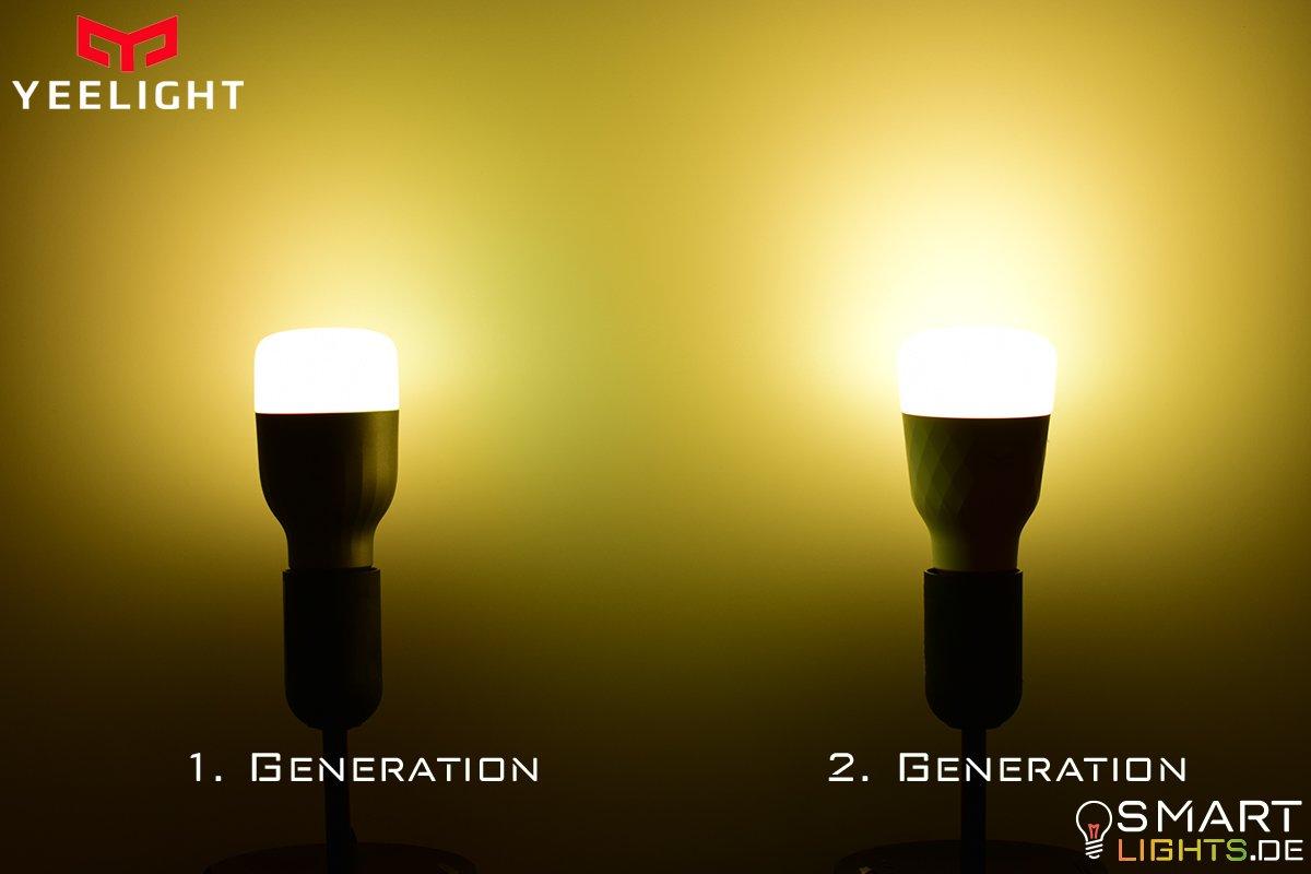 Farbunterschied Warmweiß Xiaomi Yeelight 1. Generation YLDP02YL und 2. Generation YLDP06YL