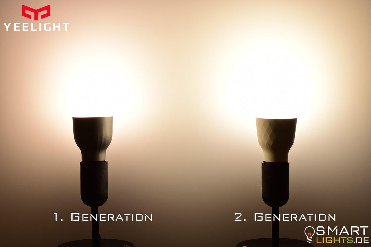 Farbunterschied Weiß Xiaomi Yeelight 1. Generation YLDP02YL und 2. Generation YLDP06YL