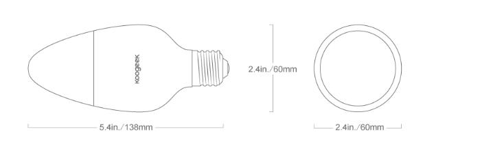 Koogeek LED Smart Light Bulb Leuchtmittel Maße