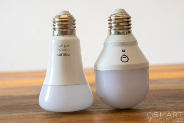 LIFX Mini Day & Dusk E27 Lampe im Vergleich mit Philips Hue White Ambiance