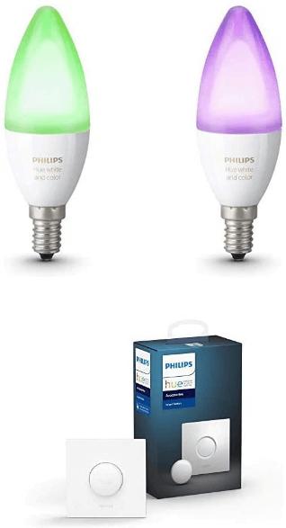 Philips Hue E14 Kerzenlampen + Hue Smart Button