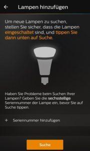 Philips Hue einrichten Leuchtmittel in der App suchen