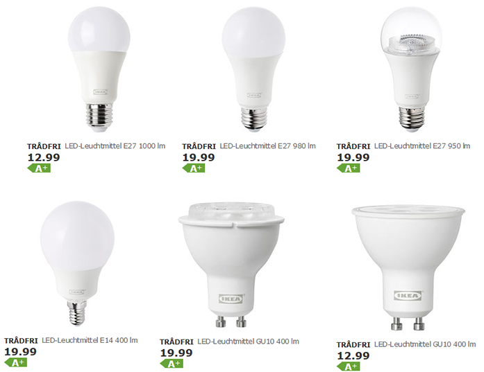 Preiserhöhung bei den IKEA Trådfri Leuchtmitteln