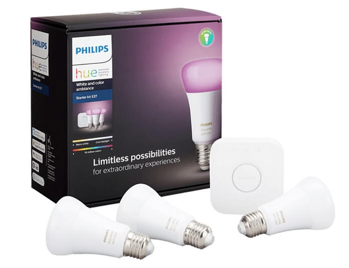 3er Pack Philips Hue White & Color Ambiance E27 Bluetooth Lampen + Bridge